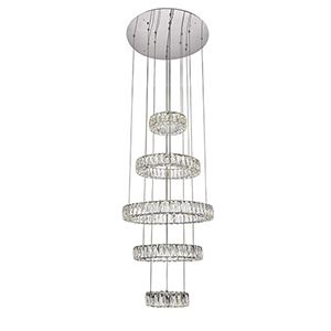 Monroe Chrome Five-Tier LED Chandelier