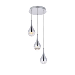 Amherst Chrome 12-Inch Three-Light LED Pendant