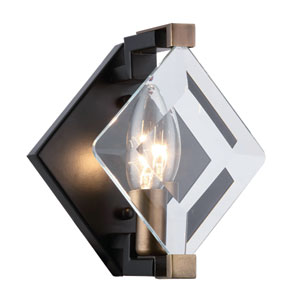 Endicott Burnished Brass and Flat Black Six-Inch One-Light Wall Sconce