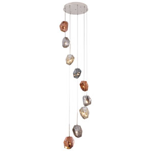 Gibeon Polished Nickel Nine-Light Pendant with Copper Shade