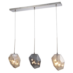 Gibeon Polished Nickel Three-Light Pendant with Copper Shade