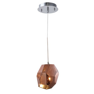 Gibeon Polished Nickel Five-Inch One-Light Mini Pendant with Copper Shade