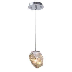 Gibeon Polished Nickel Five-Inch One-Light Mini Pendant with Golden Teak Shade