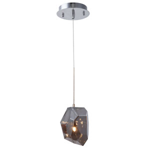 Gibeon Polished Nickel Five-Inch One-Light Mini Pendant with Silver Shade