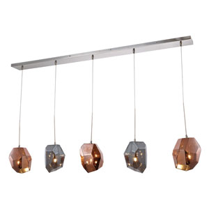 Gibeon Polished Nickel Five-Inch Five-Light Chandelier with Silver and Copper Shade
