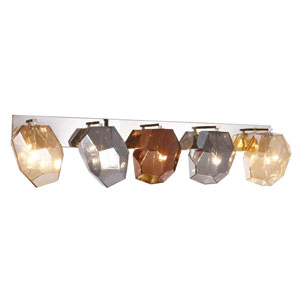 Gibeon Polished Nickel 42-Inch Five-Light Wall Sconce  with Golden Silver and Copper Shade
