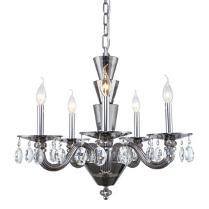 Augusta Silver Shade 23-Inch Five-Light Chandelier