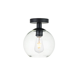 Baxter Black Seven-Inch One-Light Semi-Flush Mount