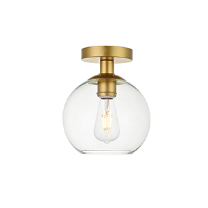 Baxter Brass Seven-Inch One-Light Semi-Flush Mount