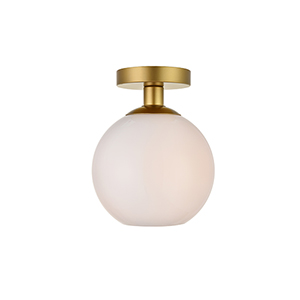 Baxter Brass and Frosted White Seven-Inch One-Light Semi-Flush Mount
