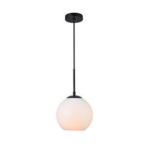 Baxter Black and Frosted White Seven-Inch One-Light Mini Pendant
