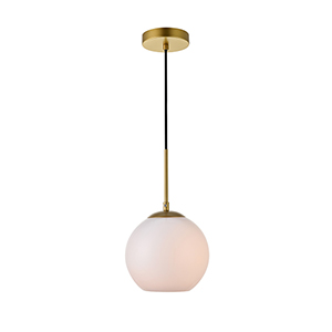 Baxter Brass and Frosted White Seven-Inch One-Light Mini Pendant