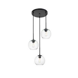 Baxter Black 18-Inch Three-Light Pendant