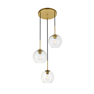 Baxter Brass 18-Inch Three-Light Pendant