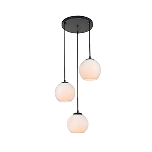 Baxter Black and Frosted White 18-Inch Three-Light Pendant