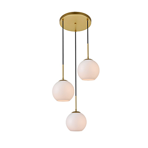 Baxter Brass and Frosted White 18-Inch Three-Light Pendant