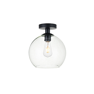 Baxter Black Nine-Inch One-Light Semi-Flush Mount