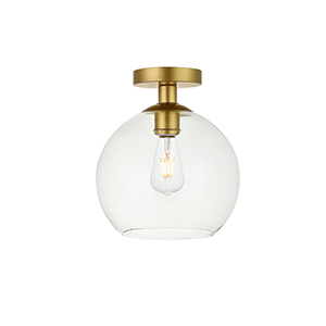 Baxter Brass Nine-Inch One-Light Semi-Flush Mount