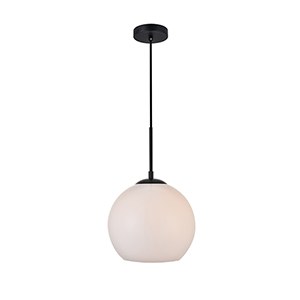 Baxter Black and Frosted White Nine-Inch One-Light Mini Pendant