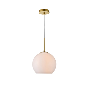 Baxter Brass and Frosted White Nine-Inch One-Light Mini Pendant