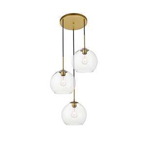 Baxter Brass Nine-Inch Three-Light Pendant
