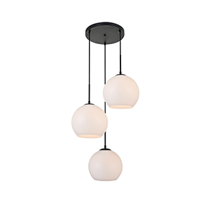 Baxter Black and Frosted White Nine-Inch Three-Light Pendant