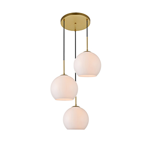 Baxter Brass and Frosted White Nine-Inch Three-Light Pendant