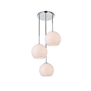 Baxter Chrome and Frosted White Nine-Inch Three-Light Pendant