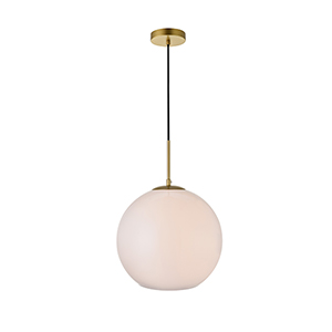 Baxter Brass and Frosted White 13-Inch One-Light Pendant