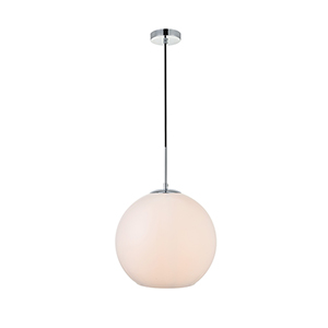 Baxter Chrome and Frosted White 13-Inch One-Light Pendant