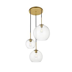 Baxter Brass 11-Inch Three-Light Pendant