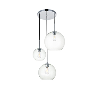 Baxter Chrome 11-Inch Three-Light Pendant