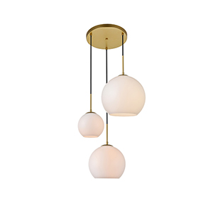 Baxter Brass and Frosted White 11-Inch Three-Light Pendant