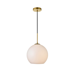 Baxter Brass and Frosted White 11-Inch One-Light Pendant