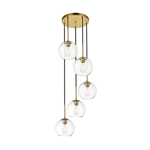 Baxter Brass 18-Inch Five-Light Pendant