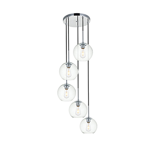 Baxter Chrome 18-Inch Five-Light Pendant