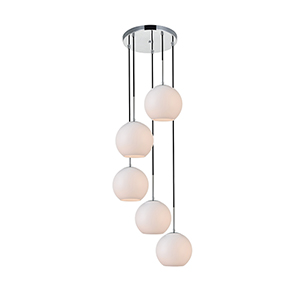 Baxter Chrome and Frosted White 18-Inch Five-Light Pendant