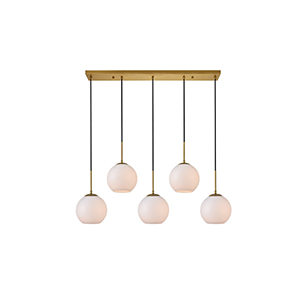 Baxter Brass and Frosted White Seven-Inch Five-Light Mini Pendant