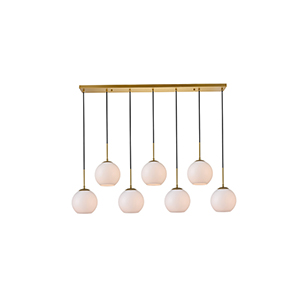 Baxter Brass and Frosted White Seven-Light Mini Pendant