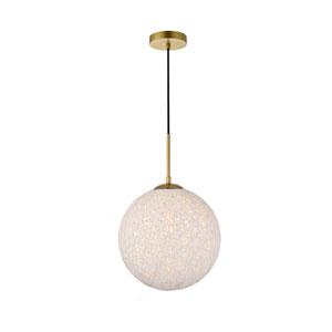 Malibu Brass and White 12-Inch One-Light Pendant