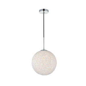 Malibu Chrome and White 12-Inch One-Light Pendant
