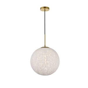 Malibu Brass and White 14-Inch One-Light Pendant