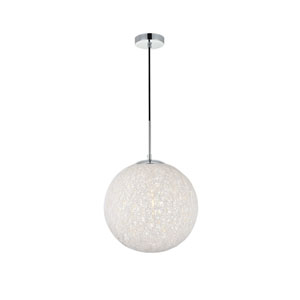 Malibu Chrome and White 14-Inch One-Light Pendant