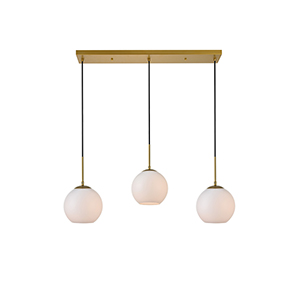 Baxter Brass and Frosted White Seven-Inch Three-Light Mini Pendant
