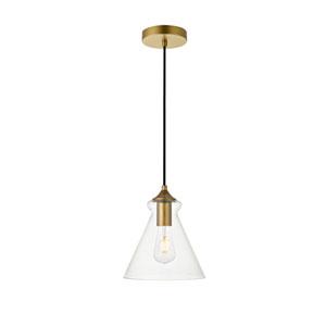Destry Brass Eight-Inch One-Light Mini Pendant