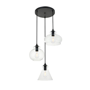 Destry Black Three-Light Pendant