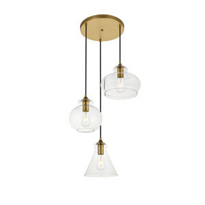 Destry Brass Three-Light Pendant