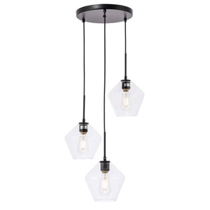 Gene Black 18-Inch Three-Light Pendant with Clear Glass