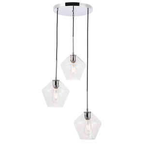 Gene Chrome 18-Inch Three-Light Pendant with Clear Glass