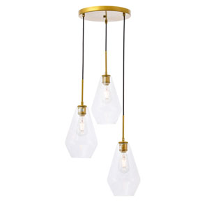 Gene Brass Three-Light Pendant with Clear Glass